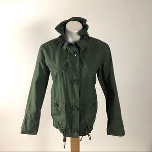 J.  Crew short trench cotton jacket ruffle collar
